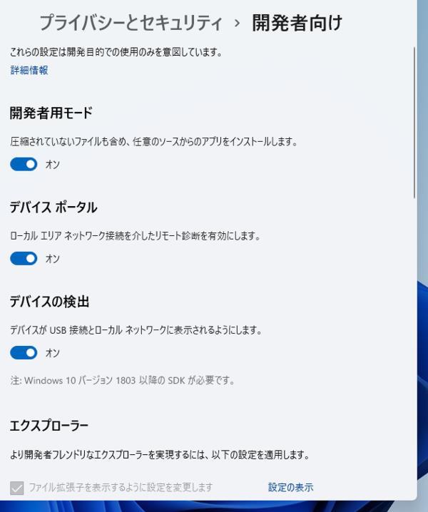 Windows 11 開発者用モード