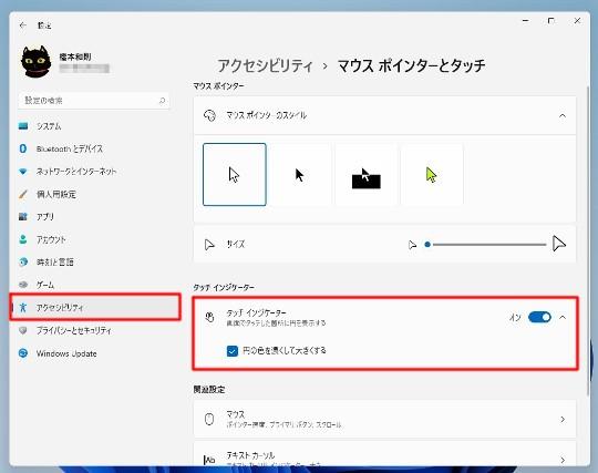 Windows 11 タップした場所の効果を強調する設定